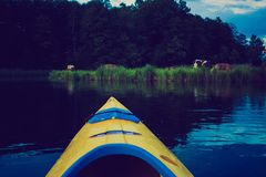 Vintage photo of kayaking by Krutynia river in Poland Stock Photography