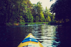 Vintage photo of kayaking by Krutynia river in Poland Royalty Free Stock Photos
