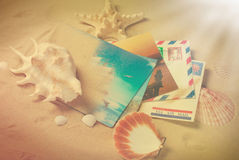 Vintage photo of letters and postcards from summer vacations Stock Photography