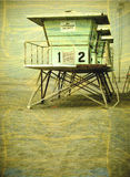 Vintage photo of lifeguard tower Royalty Free Stock Photos
