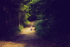 Vintage photo of little boy running and playing in forest at summer. Stock Photos