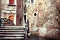 Vintage photo of the Malvasia Bridge (Venice, Italy) Stock Image