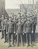 Vintage Photo of Marines. A group of smiling men in uniform 1940`s era royalty free stock image