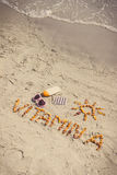 Vintage photo, Medical pills, inscription vitamin A and accessories for sunbathing at beach, healthy, beautiful and lasting tan Stock Photos