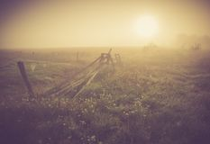 Vintage photo of morning foggy meadow in summer. Rural landscape Royalty Free Stock Images
