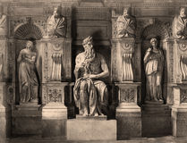 Vintage Photo Moses by Michelangelo, Rome,Italy 1890 stock photography