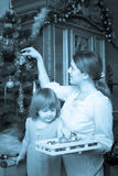 Vintage photo of mother and daughter Stock Photography