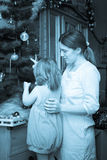 Vintage photo of  mother and daughter in Christmas Royalty Free Stock Photos