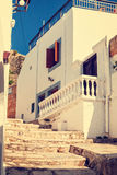Vintage photo of narrow street in Lindos. Stock Images