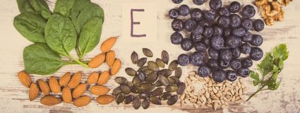 Vintage photo, Natural ingredients as source vitamin E, minerals and dietary fiber. Vintage photo, Natural ingredients or products as source vitamin E, minerals stock photos