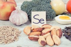 Vintage photo, Products and ingredients containing selenium, minerals and dietary fiber, healthy nutrition concept. Vintage photo, Natural products and Stock Photo