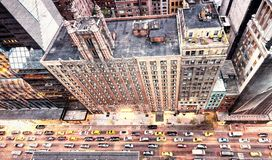 Vintage photo of New York streets from rooftop.  Royalty Free Stock Images