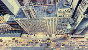 Vintage photo of New York streets from rooftop Royalty Free Stock Image