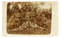 Vintage photo of the officer and soldiers of the World War I Stock Images