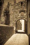 Vintage photo of old street in ordinary Catalan town Stock Photography
