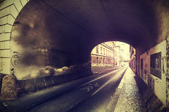 Vintage photo of old street and tunnel. Stock Photography