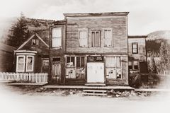 Vintage Photo of Old Western Post Office Building in the middle of a western town Stock Photo