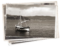 Vintage photo Old wooden sail ship Royalty Free Stock Images