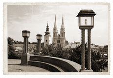 Vintage photo Panoramic Zagreb Royalty Free Stock Photo