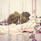 Vintage photo, Parts and detail of sailboat in port of sailing Stock Image