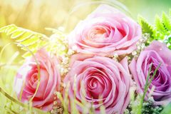 Photo of pink wedding bouquet. Vintage photo of pink wedding bouquet Royalty Free Stock Images