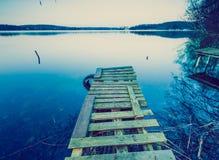 Vintage photo of polish lake at sunset Stock Images