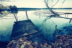 Vintage photo of polish lake at sunset Royalty Free Stock Photography