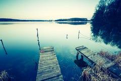 Vintage photo of polish lake at sunset Stock Photos