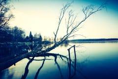 Vintage photo of polish lake at sunset Stock Photography