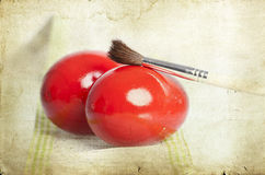 Vintage photo of red Easter eggs Stock Photography