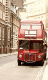 Vintage photo of  red London bus. Vintage photo of old red London bus Stock Photography