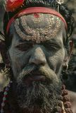 Vintage photo of sadhu at kumbh Mela 1977 stock photo