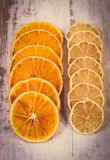 Vintage photo, Slices of dried lemon and orange on old wooden background Royalty Free Stock Photos