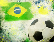 Vintage photo of soccer ball  Brazil 2014. Vintage photo of soccer ball OF Brazil 2014 Royalty Free Stock Photo