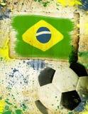 Vintage photo of soccer ball  Brazil 2014. Vintage photo of soccer ball OF Brazil 2014 Stock Photo
