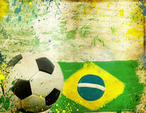 Vintage photo of soccer ball  Brazil 2014. Vintage photo of soccer ball OF Brazil 2014 Stock Image