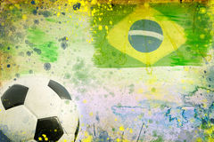 Vintage photo of soccer ball  Brazil 2014 Stock Photography