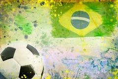 Vintage photo of soccer ball  Brazil 2014. Vintage photo of soccer ball OF Brazil 2014 Stock Photography