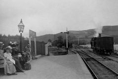 Vintage Photo 1902, Steam Train, Llanilar Station, Aberystwyth, Wales Stock Photography