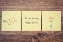 Vintage photo, Symbols of Valentines Day drawn on paper, symbol of love Stock Photo