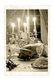 Vintage photo of table of Christmas. Royalty Free Stock Photo