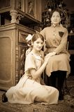 Vintage photo of Teen girls with mother Royalty Free Stock Photo