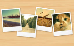 Vintage photo on wooden table Royalty Free Stock Images