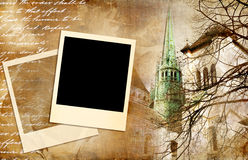 Vintage photoalbum. Romantic background with polaroid frames (from my vintage photoalbum series Stock Photography