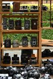 Vintage photocameras on the flea market stock photo