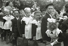 Vintage Photograph of Soviet School Children Royalty Free Stock Image