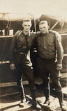 Vintage Photograph WWI Army Soldiers. Two American Yanks from World War One pose together in camp. The WWI army soldiers are in their uniforms in this vintage Royalty Free Stock Photography