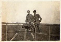Vintage Photograph WWI Army Soldiers Stock Images