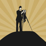 Vintage photographer with ancient camera. Color illustration vector illustration