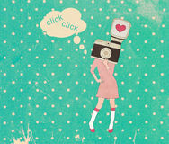 Vintage photographer girl with camera head on polka dots. Background royalty free illustration